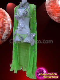 CHARISMATICO Green Halter Neck Diva Bikini with Embellished Green Cape
