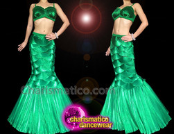 CHARISMATICO Vibrant Green Mermaid Two-Piece Costume with Shell Bra and Layered Skirt