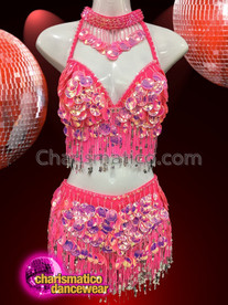 CHARISMATICO Hot pink bra and skirt set with metallic patterned plates