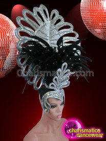 CHARISMATICO Queen of Diamonds Silver and Black Feather Showstopper Diva Headdress