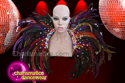 CHARISMATICO Drag Queen Multicolored Strap On Feather Collar with Stud Details
