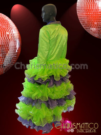 CHARISMATICO Neon Green and Blue Jacket with Collar and Ruffled Sleeves