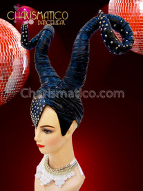 CHARISMATICO Maleficent Inspired Black Performance Diva Headdress with Secure Crown