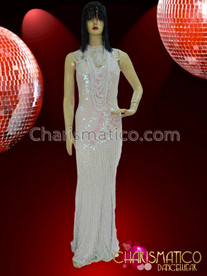 CHARISMATICO Ballroom Dancing White Sequined Long Dress with Layered Beaded Necklace