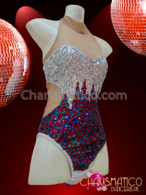 CHARISMATICO Sexy Two Toned Sequined Nude Based Performance Leotard