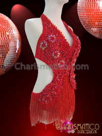 CHARISMATICO Halter Neck red Evening Salsa Dress with Sequins and Tassels