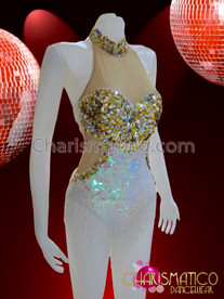 CHARISMATICO White Gold Sequined Shimmering Diva's Sexy Latin Dance Leotard