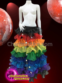 CHARISMATICO Multi-Layered Rainbow Colored Can-Can Floor length Skirt