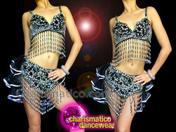 CHARISMATICO Salsa Dancing Black Beaded Bra and Skirt with Black Ruffles