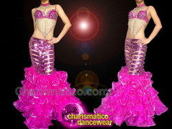 CHARISMATICO Pink Performance Mermaid Costume with Sexy Bra, Sequined Skirt and Matching Collar