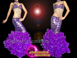 CHARISMATICO Sexy Purple mermaid Costume with Beaded Bra and Ruffles Long Skirt