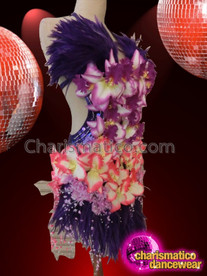 CHARISMATICO Dancer sleeveless Feather and Flower Multicolored Backless Evening Dress