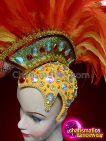 CHARISMATICO Showgirl Orange and Yellow Feather Showgirl Mohawk Beaded headdress with Crown