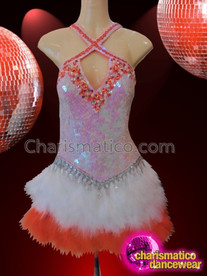 CHARISMATICO Orange Sequin Salsa Dress With white feather skirt