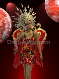 CHARISMATICO Exotic Red Dress with Matching Necklace, Headdress and Red Feathery Wings