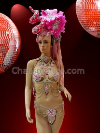 CHARISMATICO Elegant Pink Burlesque Crystal Accented Flora Cage Bra, Thong, Collar Necklace, and Headdress Set