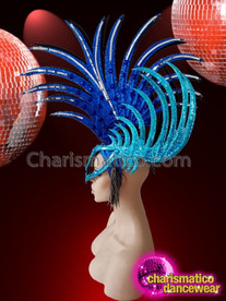 CHARISMATICO Blue cock feather Mohawk masque style drag queen headdress