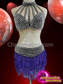 CHARISMATICO Glamour queen's black conical silver dotted bra and Purple skirt combo dress