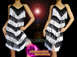 CHARISMATICO Sexy and short sexy monochrome glamorous dance diva fringe dress