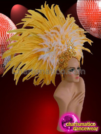CHARISMATICO Amazing yellow and white combination multi colored feathered yellow headdress