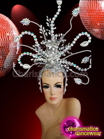 CHARISMATICO Glamorous silver rhinestone setting attractive golden diva girl crystal headdress