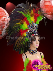 CHARISMATICO Wonderful green, yellow and red feathered drag queen headdress