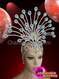 CHARISMATICO Stunning Egyptian style iridescent silver crystal setting glamour diva headdress