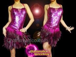 CHARISMATICO Glamorous black and purple-feathered backless short warm fuchsia dress