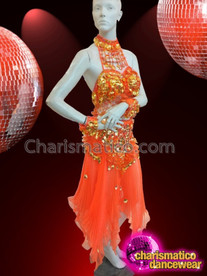 CHARISMATICO Fashionable Entrancing Vibrant Sparkling Glitzy Diva Orange dress