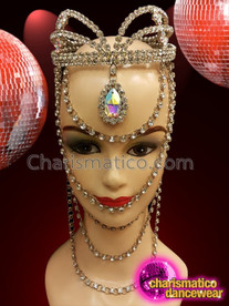 CHARISMATICO Large silver studded sexy crystal crown for the ultimate dancing diva