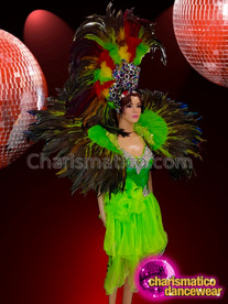 CHARISMATICO Super glamorous diva showgirl's cabaret costume set in green and black