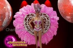 CHARISMATICO Sweet and sexy dance diva queen's baby pink feathered costume