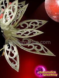 CHARISMATICO Leaf structured sheer golden dance diva fancy backpack