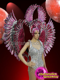 CHARISMATICO Bird's wing shaped dance diva's large headdress and wing combo set