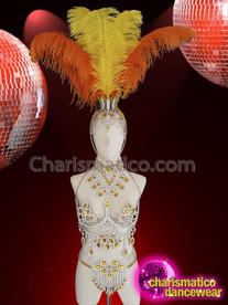 CHARISMATICO Metallic structured golden rhinestones embedded glitter diva dance costume