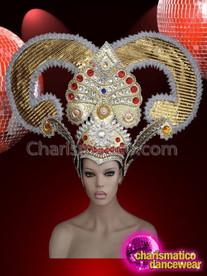 CHARISMATICO Horned golden dance diva's rhinestone embedded headdress
