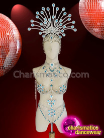 CHARISMATICO Gorgeous cabaret blue and silver crystal headdress and bra combo