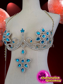 CHARISMATICO Floral rhinestone setting dance diva crystal fancy bra set