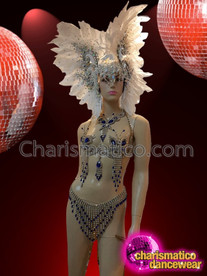 CHARISMATICO Elegant Blue Crystal Accented Butterfly Cage Bra, Thong, Necklace, and Headdress Set