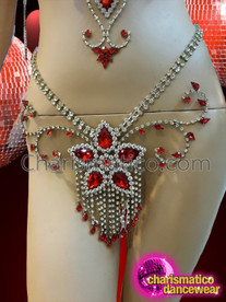 CHARISMATICO Red Crystal Enhanced Rhinestone Floral Style Cage Bra and thong Set