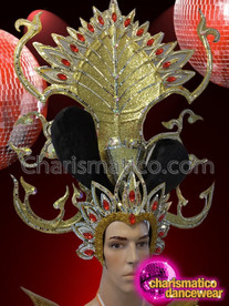 CHARISMATICO Large and elegant leafy style glamorous gold head dress for men