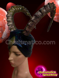 CHARISMATICO Amazing metallic blackish gold glitter drag queen's curved horn headdress