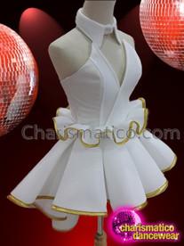 CHARISMATICO elegant short strapless white chiffon dance diva costume