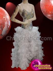 CHARISMATICO attractive glamour diva shimmering golden V cut golden dress