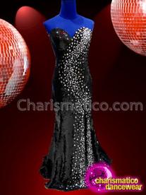 CHARISMATICO strapless jet black long dance diva stone setting amazing gown