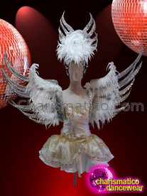 CHARISMATICO angelic off white chiffon and organza drag queen costume with feathered wings