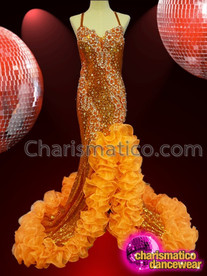 CHARISMATICO beautiful orange sequin silver setting floral pattern long dance queen gown