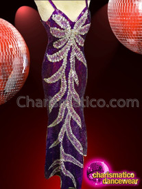 CHARISMATICO royal purple V neck floral patterned glamour queen long gown