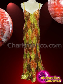 CHARISMATICO bright multi colored beaded dance drag queen gold gown