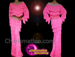 CHARISMATICO Crystallized Pink Dance Latin Salsa Fringe Off shoulder Top and Pants
